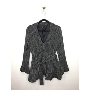 Sandro Studio Black Gray Snap-Front Jacket Ruffle